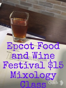At Epcot Food and Wine Festival take part in a Mixology Class for $15 including recipes and samples!