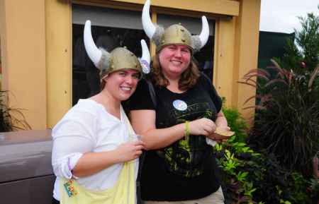Heather and Christy sporting Viking hats at Food and Wine